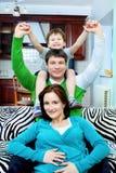 Familia alegre Fotografía de archivo
