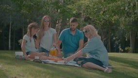 Familia alegre con el niño picknicking en verano metrajes