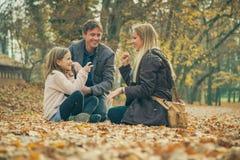 Familia alegre de la genuflexión tres en la tierra del parque cubierta con las hojas fotos de archivo