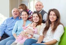 Familia alegre de tres generaciones Imagen de archivo