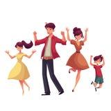 Familia alegre del estilo de la historieta que salta de felicidad stock de ilustración