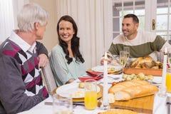 Familia alegre que cena la Navidad junto Fotos de archivo libres de regalías