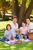 Familia alegre que merienda en el campo en el parque Fotos de archivo