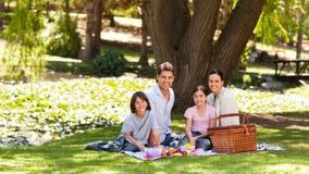 Familia alegre que merienda en el campo en el parque Foto de archivo