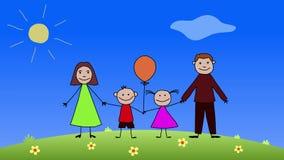 Familia Arte del color Animación del dibujo de esquema libre illustration