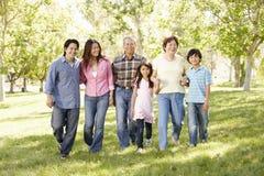 Familia asiática multigeneración que camina en parque fotografía de archivo