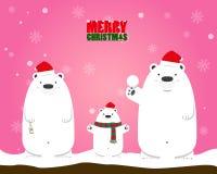 Familia blanca del oso polar de la Feliz Navidad Fotos de archivo libres de regalías