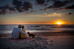 Familia cariñosa en el mar de la puesta del sol Fotos de archivo