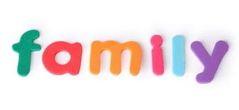 Familia, cartas para el niño, palabra inglesa aislada Imagen de archivo