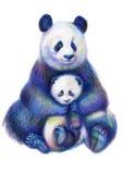 Familia coloreada de los osos de panda del arco iris del dibujo de lápices imagen de archivo