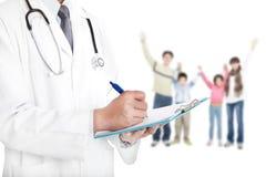familia con concepto de la asistencia médica Fotografía de archivo libre de regalías