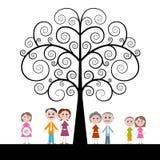 Familia con el árbol encrespado en el fondo blanco libre illustration