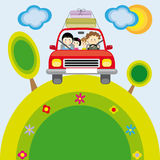 Familia con el coche Imágenes de archivo libres de regalías