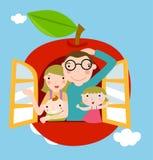 Familia con el fondo de la manzana Fotos de archivo