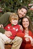 Familia con el muchacho que se sienta delante del árbol de navidad Imagenes de archivo