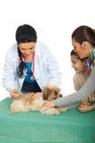 Familia con el perrito en el veterinario Imágenes de archivo libres de regalías