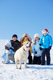 Familia con el perro Imagen de archivo libre de regalías