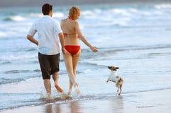 Familia con el perro en la playa Foto de archivo