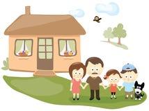 Familia con la casa libre illustration