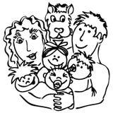 Familia con los cuadrúpedos Imágenes de archivo libres de regalías