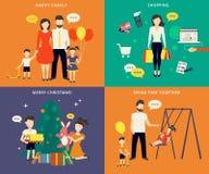 Familia con los iconos planos del concepto de los niños fijados stock de ilustración