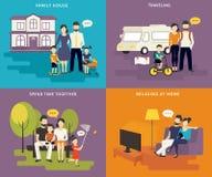 Familia con los iconos planos del concepto de los niños fijados Fotografía de archivo