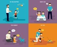 Familia con los iconos planos del concepto de los niños fijados Imagen de archivo libre de regalías