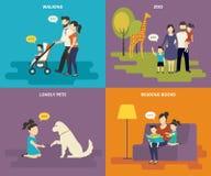 Familia con los iconos planos del concepto de los niños fijados Imágenes de archivo libres de regalías