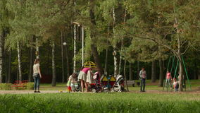 Familia con los niños en el parque D3ia del otoño Tiro liso del carro almacen de metraje de vídeo