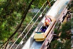 Familia con los niños en la montaña rusa en parque temático de la diversión Niños que montan la atracción de alta velocidad del t fotografía de archivo libre de regalías