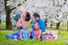 Familia con los niños que disfrutan de comida campestre en parque de la primavera Foto de archivo libre de regalías