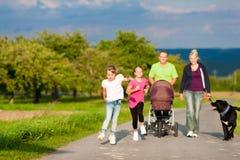 Familia con los niños y el perro que tienen caminata Fotografía de archivo libre de regalías