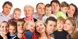 Familia con los niños, collage de muchas caras Foto de archivo libre de regalías