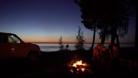Familia de árbol alrededor de una hoguera en la noche con el coche almacen de video
