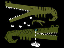 Familia de cocodrilos donde uno de ellos gritos Fotografía de archivo