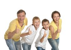 Familia de cuatro miembros feliz Fotos de archivo