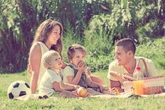 Familia de cuatro miembros que tiene comida campestre Fotografía de archivo