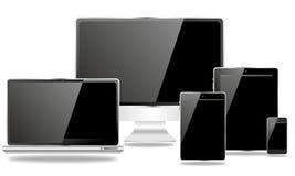 Familia de edición negra de los dispositivos de comunicación Imágenes de archivo libres de regalías