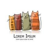 Familia de gatos divertida, bosquejo para su diseño Fotos de archivo