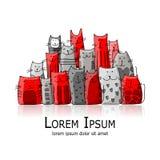Familia de gatos divertida, bosquejo para su diseño Imagen de archivo