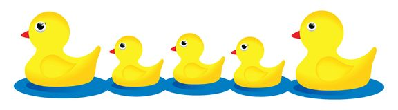 Familia de goma del pato Fotos de archivo libres de regalías