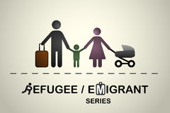 Familia de inmigrantes/de refugiados Serie del emigrante/del refugiado ilustración del vector
