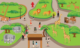 Familia de la gente de la historieta del parque zoológico con el ejemplo del vector de la escena de los animales Foto de archivo