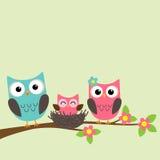 Familia de la historieta de búhos stock de ilustración