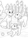 Familia de la historieta del libro de colorear de los niños en la naturaleza Perro de la mamá y niños de los perritos Imagen de archivo