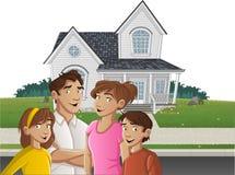 Familia de la historieta delante de una casa ilustración del vector