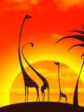 Familia de la jirafa stock de ilustración