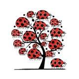 Familia de la mariquita, árbol del arte para su diseño Fotos de archivo