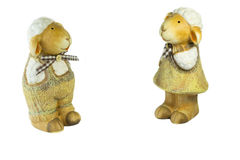 Familia de la muñeca de las ovejas en el blackground blanco Imágenes de archivo libres de regalías