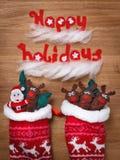 Familia de la Navidad, calcetines Decoración, Papá Noel y ciervos de la nieve de Navidad Imagen de archivo